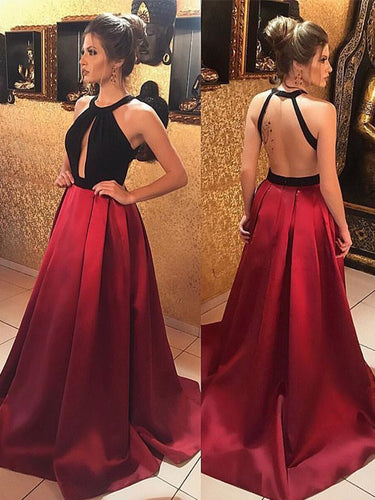 Cheap Prom Dresses Aline Halter Simple Burgundy Long Open Back Prom Dress JKL1120|Annapromdress