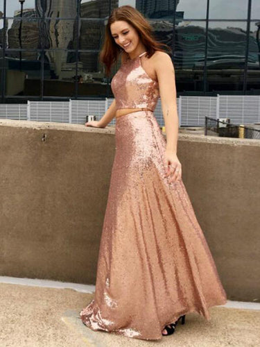 Two Piece Prom Dresses A-line Rose Gold Sequins Long Prom Dress Sexy Evening Dress JKL1121|Annapromdress