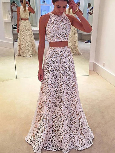 Two Piece Prom Dresses Aline Simple Floor-length Lace Long Chic Prom Dress JKL1122|Annapromdress