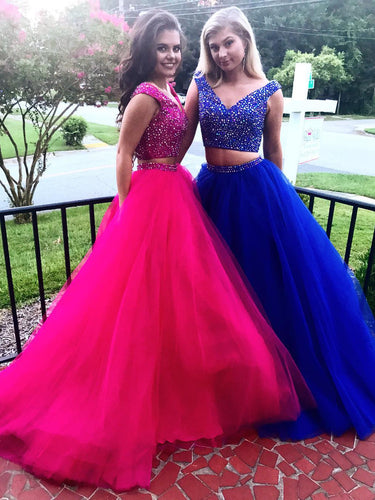 Two Piece Prom Dresses V-neck Rhinestone Sweep Train Sparkly Royal Blue Prom Dress JKL1123|Annapromdress