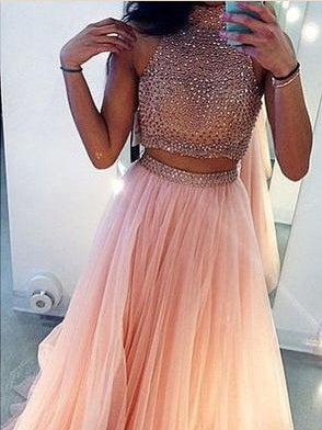Two Piece Prom Dresses A Line High Neck Long Prom Dress Sexy Evening Dress JKL1124|Annapromdress