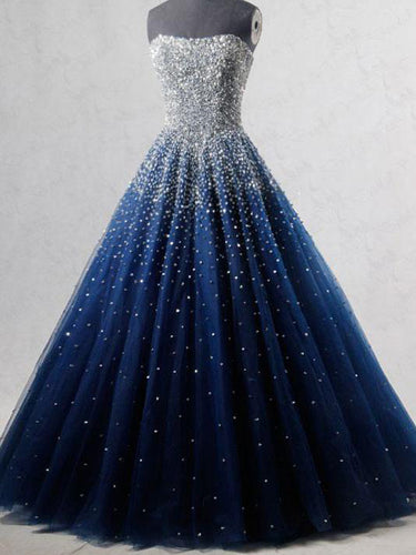Sparkly Prom Dresses Strapless Dark Navy Sequins Long Beautiful Prom Dress JKL1127|Annapromdress