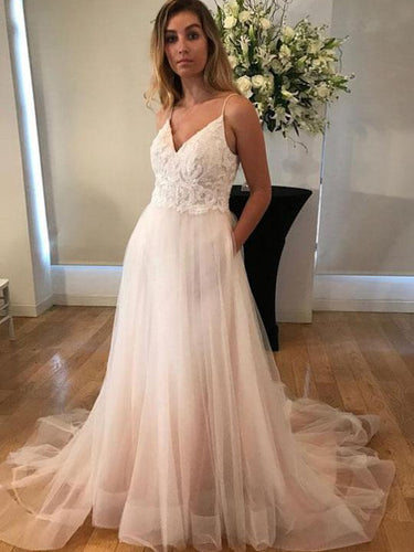 Chic Ombre Prom Dresses Spaghetti Straps Sweep Train Tulle A Line Long Prom Dress JKL1130|Annapromdress