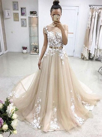 Beautiful Prom Dresses A-line Sweep Train Appliques Long Charming Prom Dress JKL1131|Annapromdress