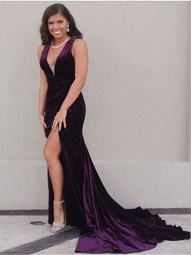Sexy Prom Dresses Straps Ruffles Grape Velvet Sweep Train Long Slit Prom Dress JKL1134|Annapromdress