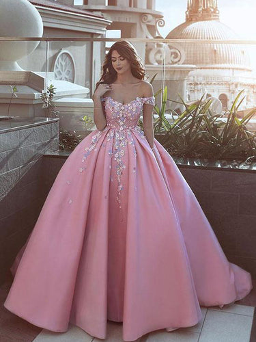 Ball Gown Prom Dresses Off-the-shoulder Sweep Train Satin Long Pink Prom Dress JKL1137|Annapromdress