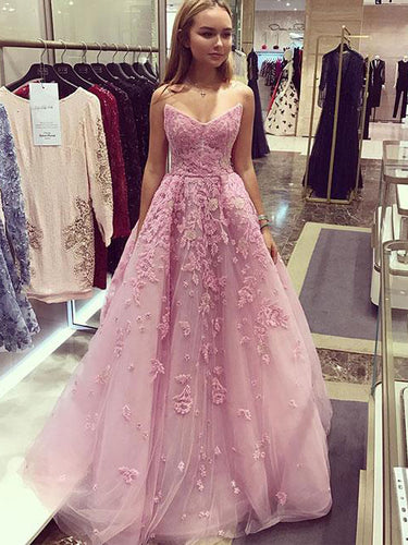 Beautiful Prom Dresses Aline Strapless Floor-length Pink Embroidery Long Prom Dress JKL1140|Annapromdress
