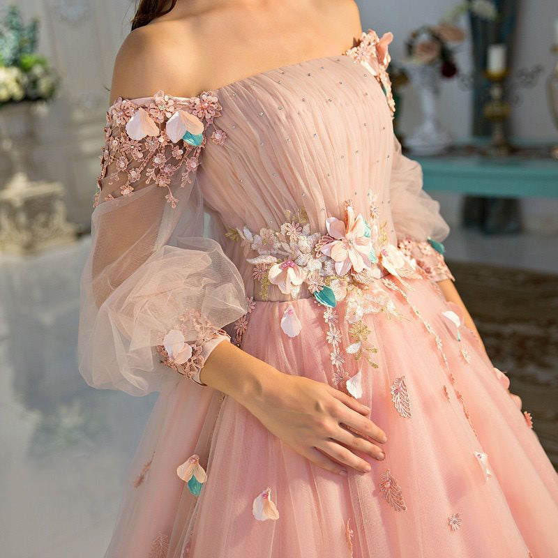 1c403844e Long Sleeve Prom Dresses Pearl Pink Ball Gown Long Floral Fairy Prom Dress  JKL1141 Annapromdress ...