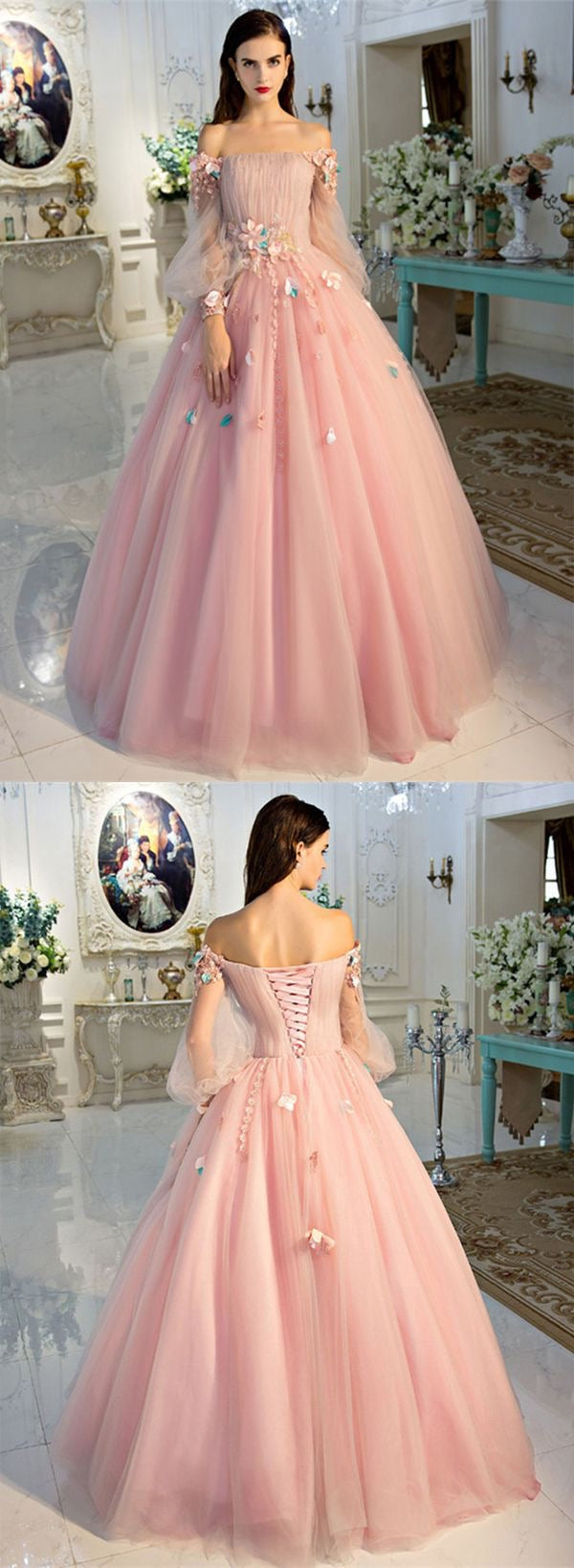Long Sleeve Prom Dresses Pearl Pink Ball Gown Long Floral Fairy Prom ...