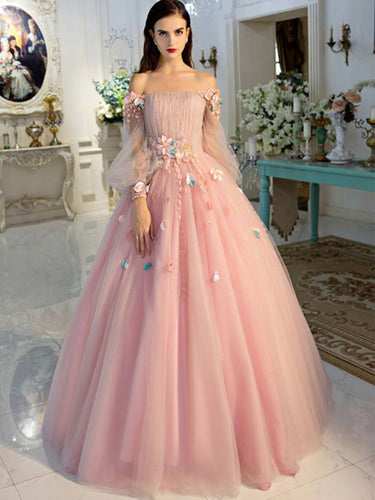 Long Sleeve Prom Dresses Pearl Pink Ball Gown Long Floral Fairy Prom Dress JKL1141|Annapromdress