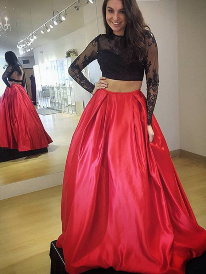 3a2161db08bb Two Piece Long Sleeve Prom Dresses Black and White Prom Dress Lace Evening  Dress JKL1143