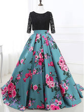 Ball Gown Prom Dresses Half Sleeve Lace Floral Print Open Back Long Prom Dress JKL1144|Annapromdress