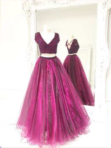 Two Piece Prom Dresses A Line V-neck Beading Fuchsia Long Sparkly Prom Dress JKL1148|Annapromdress