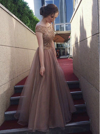 Charming Prom Dresses A-line Floor-length Sparkly Organza Open Back Prom Dress JKL1149|Annapromdress