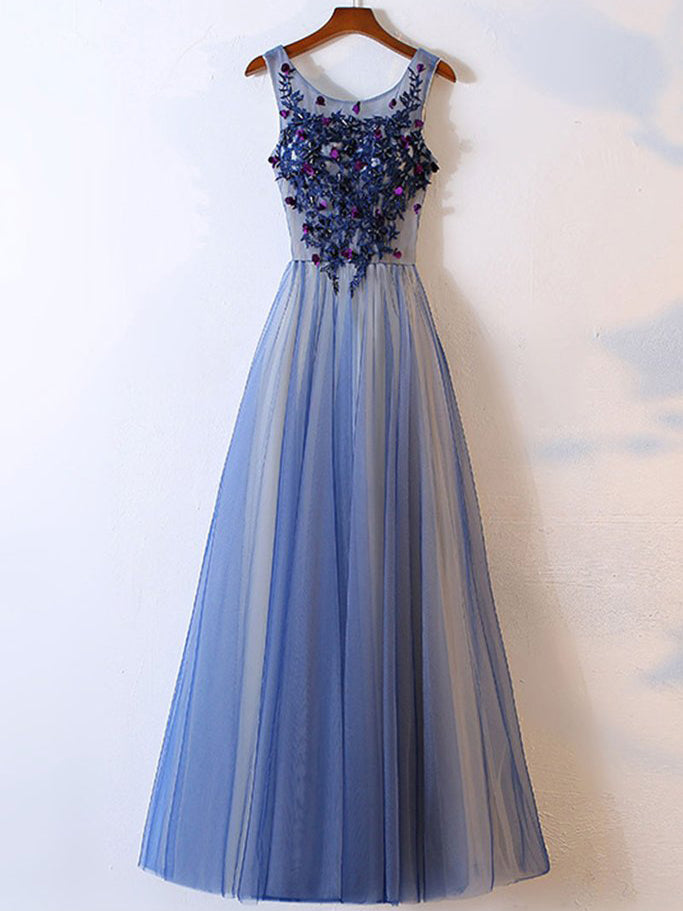 Chic Prom Dresses A-line Floor-length Tulle Prom Dress/Evening Dress JKL114