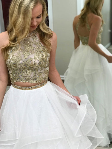 Two Piece Prom Dresses Scoop A-line White and Gold Long Organza Prom Dress JKL1152|Annapromdress