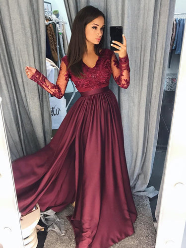 Long Sleeve Prom Dresses Floor-length V-neck Slit Prom Dress Burgundy Evening Dress JKL1153|Annapromdress