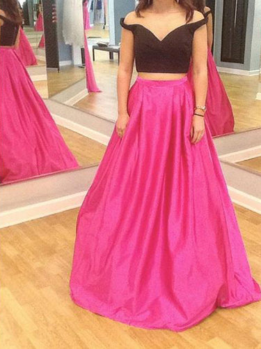 Two Piece Prom Dresses Off-the-shoulder Aline Long Simple Cheap Prom Dress JKL1154|Annapromdress