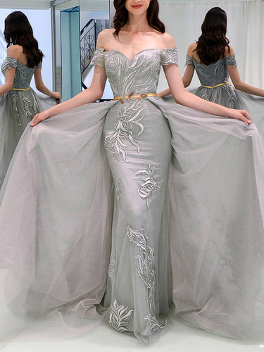 Beautiful Prom Dresses Sheath Off-the-shoulder Appliques Grey Long Prom Dress JKL1155|Annapromdress