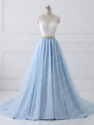 Lace Prom Dresses A-line Sweep Train Light Sky Blue V-neck Long Prom Dress JKL1158|Annapromdress