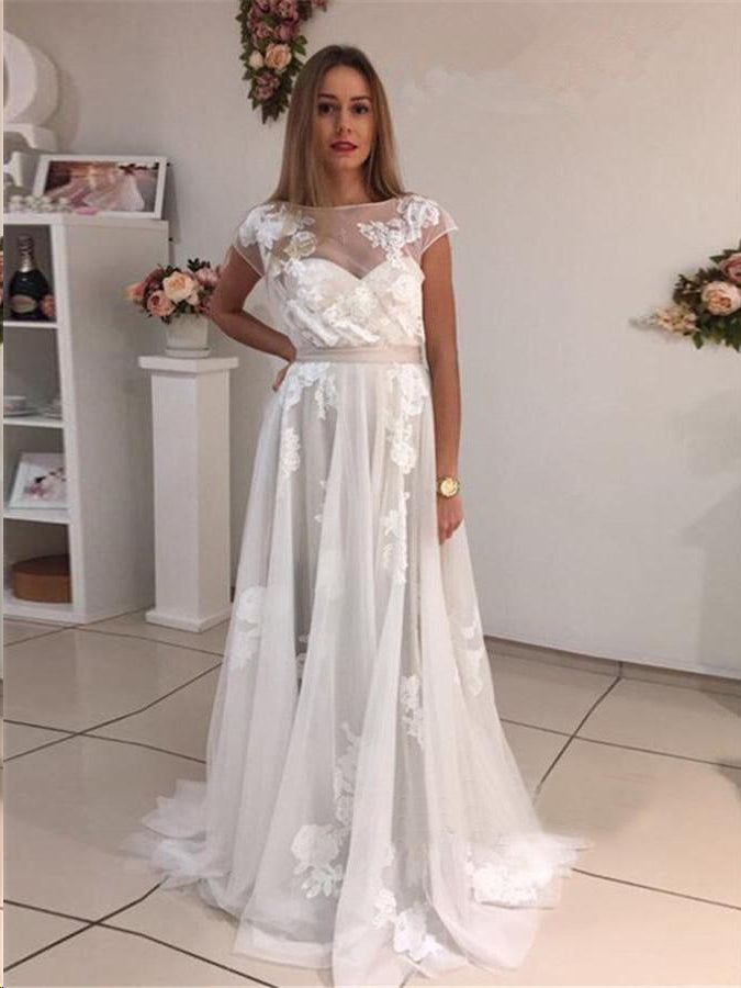 Beautiful Prom Dresses A Line Bateau Appliques Ivory Short Train Long Prom Dress JKL1166|Annapromdress