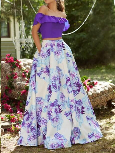 Two Piece Prom Dresses A-line Floor-length Off-the-shoulder Floral Print Prom Dress JKL1167|Annapromdress