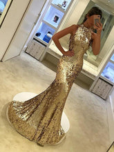 Sparkly Prom Dresses Mermaid Sequins Long Gold Prom Dress Sexy Silver Evening Dress JKL1169|Annapromdress
