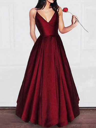 Burgundy Prom Dresses A-line Taffeta Spaghetti Straps Long Simple Prom Dress JKL1176|Annapromdress