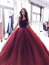 Ball Gown Prom Dresses Sweetheart Burgundy Long Sparkly Prom Dress Evening Dress JKL1178|Annapromdress