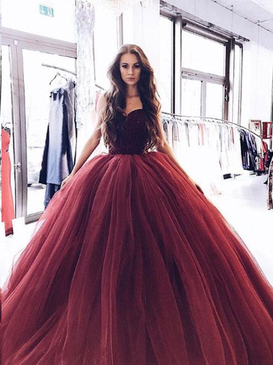 Ball Gown Prom Dresses Sweetheart Burgundy Long Sparkly Prom Dress