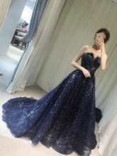 Luxury Prom Dresses A-line Sequins Sweep/Brush Train Prom Dress/Evening Dress JKL117|Annapromdress
