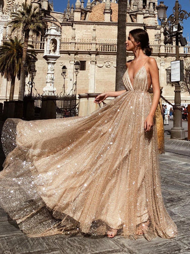 Open Back Prom Dresses A Line Spaghetti Straps Gold Sweep Train Sparkly Prom Dress JKL1180|Annapromdress