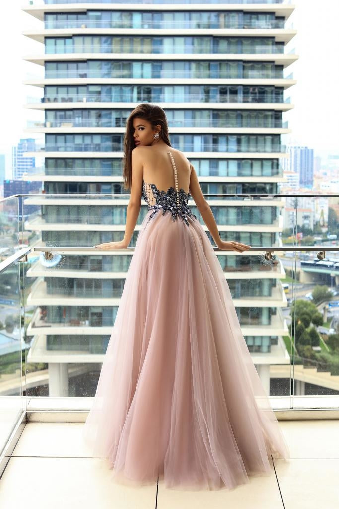 bb38ce70595 ... Sparkly Prom Dresses A-line Floor-length Beading Long Sexy Blush Pink  Prom Dress ...