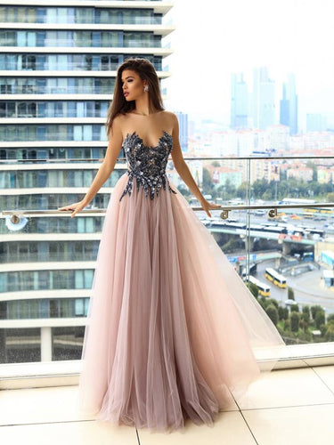 Sparkly Prom Dresses A-line Floor-length Beading Long Sexy Blush Pink Prom Dress JKL1181|Annapromdress