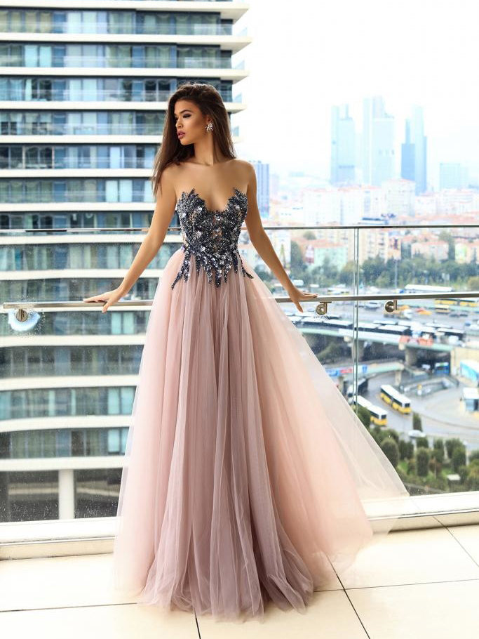 Sparkly Prom Dresses A Line Floor Length Beading Long Sexy Blush