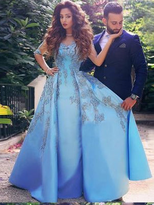 Chic Prom Dresses A-line V-neck Half Sleeve Appliques Blue Long Prom Dress JKL1183|Annapromdress