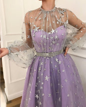 Long Sleeve Prom Dresses High Neck A-line Sparkly Star Lace Lilac Long Prom Dress JKL1184|Annapromdress