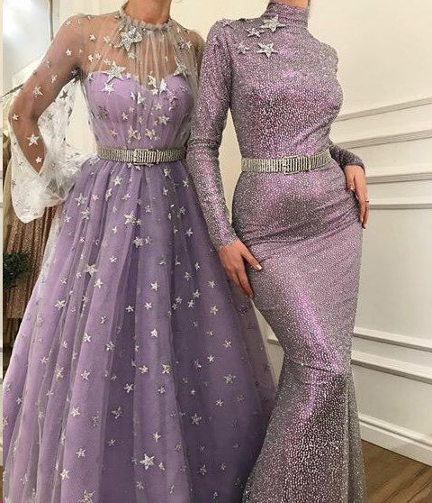 Long Sleeve Prom Dresses High Neck A Line Sparkly Star Lace Lilac