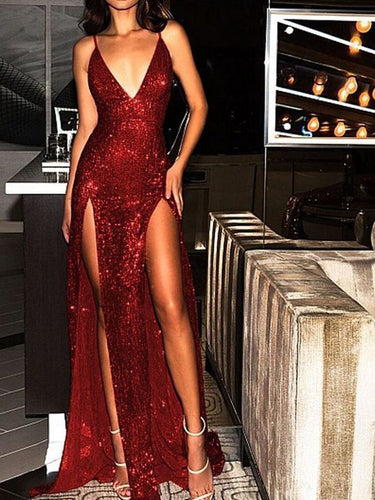 Sparkly Prom Dresses Burgundy V-neck Long Prom Dress with Slit Sexy Evening Dress JKL1185|Annapromdress