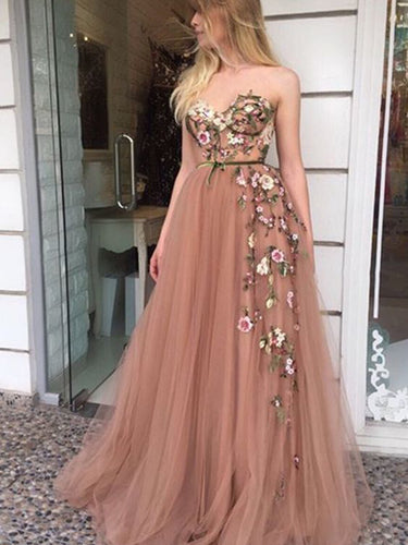 Beautiful Prom Dresses A-line Sweetheart Embroidery Prom Dress Long Evening Dress JKL1187|Annapromdress