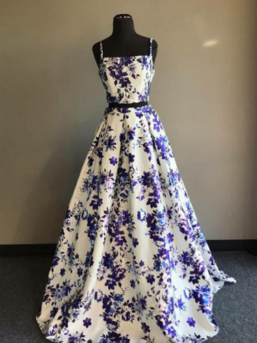 Two Piece Prom Dresses A-line Spaghetti Straps Floral Print Long Prom Dress JKL1188|Annapromdress