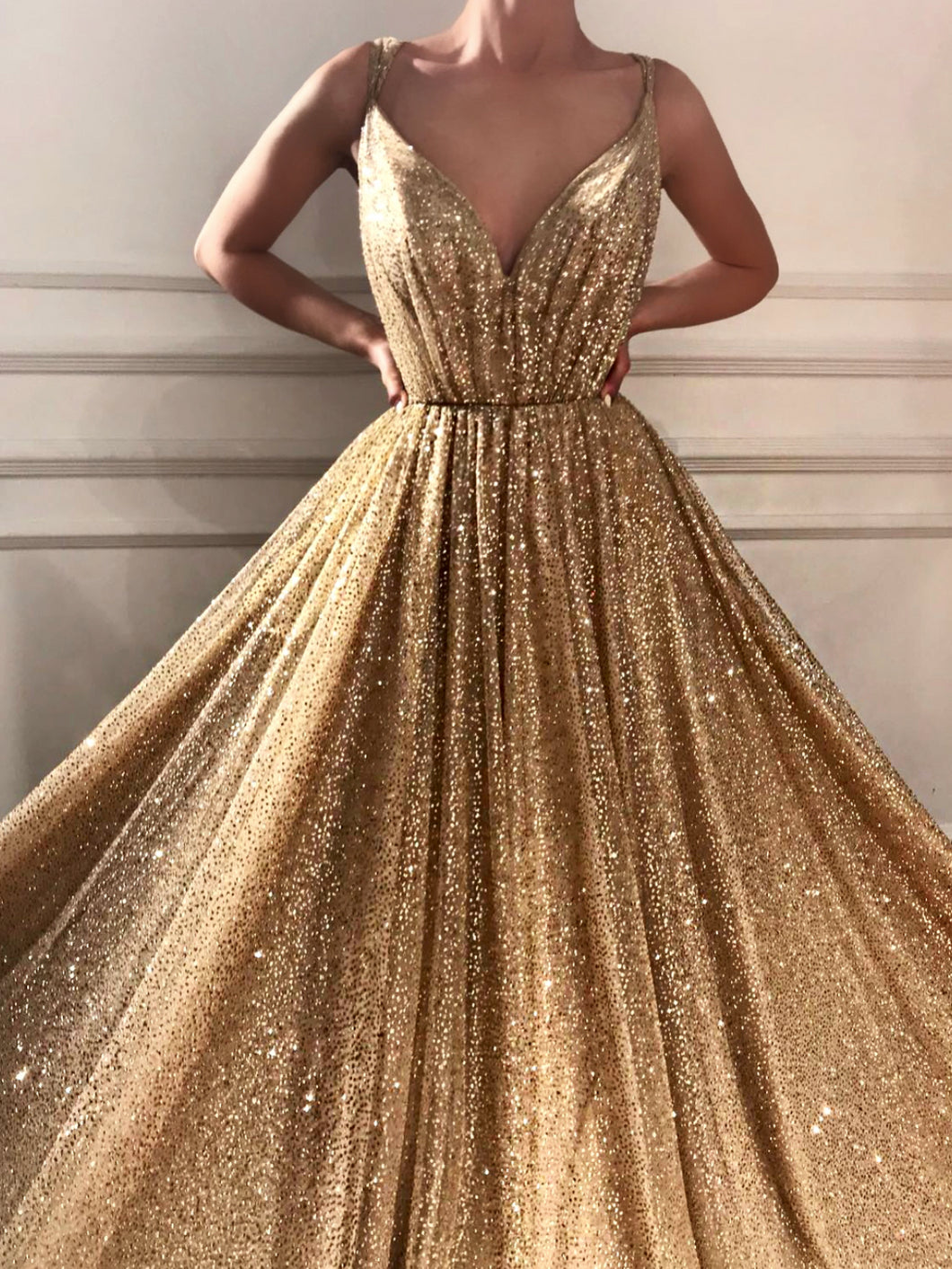 bf89b29ba7 Sparkly Prom Dresses Spaghetti Straps A-line Gold Bling Long Sexy Prom Dress  JKL1189
