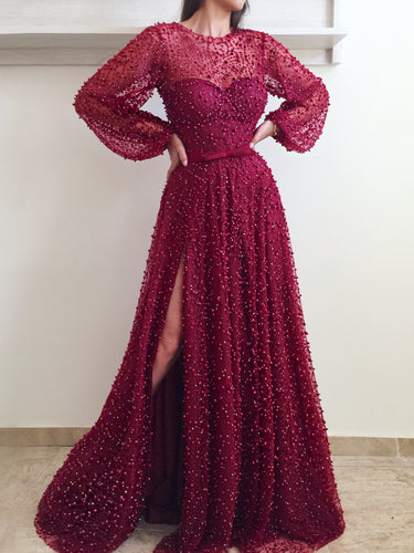 Long Sleeve Prom Dresses A-line Long Burgundy Lace Beading Sparkly Slit Prom Dress JKL1195|Annapromdress