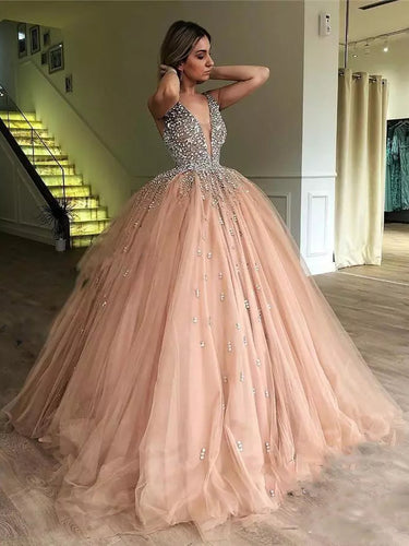 Ball Gown Prom Dresses Straps V-neck Floor-length Sparkly Long Prom Dress JKL1196|Annapromdress