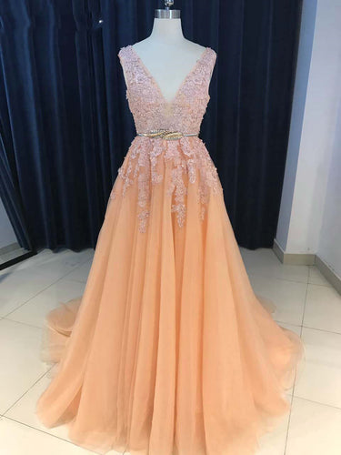 Beautiful Prom Dresses V-neck Gold Sash A-line Sweep Train Long Sexy Prom Dress JKL1197|Annapromdress