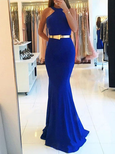 Mermaid Prom Dresses Halter Open Back Royal Blue Gold Sash Long Simple Prom Dress JKL1203|Annapromdress