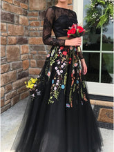 Two Piece Long Sleeve Prom Dresses A-line Lace Long Sexy Black Prom Dress JKL1204|Annapromdress