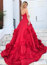 Beautiful Prom Dresses A-line Sweetheart Sweep Train Ruffles Red Long Chic Prom Dress JKL1206|Annapromdress
