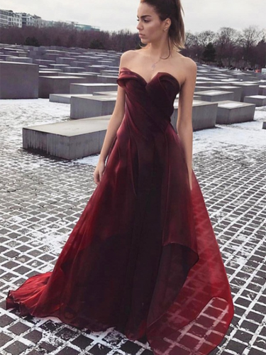 Burgundy Prom Dresses Sweetheart Long A-line Organza Simple Cheap Prom Dress JKL1207|Annapromdress