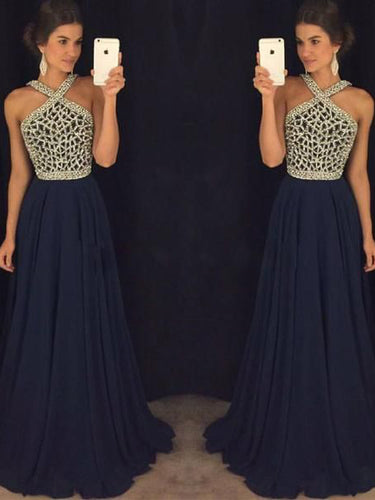 Long Sexy Prom Dresses Halter Sequins Chiffon Dark Navy Prom Dress/Evening Dress JKL120